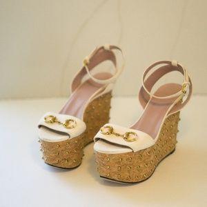 f71c11cfad9 Gucci Shoes - GUCCI Studded 6   36.5 Wedge Lilianne Horse Bit